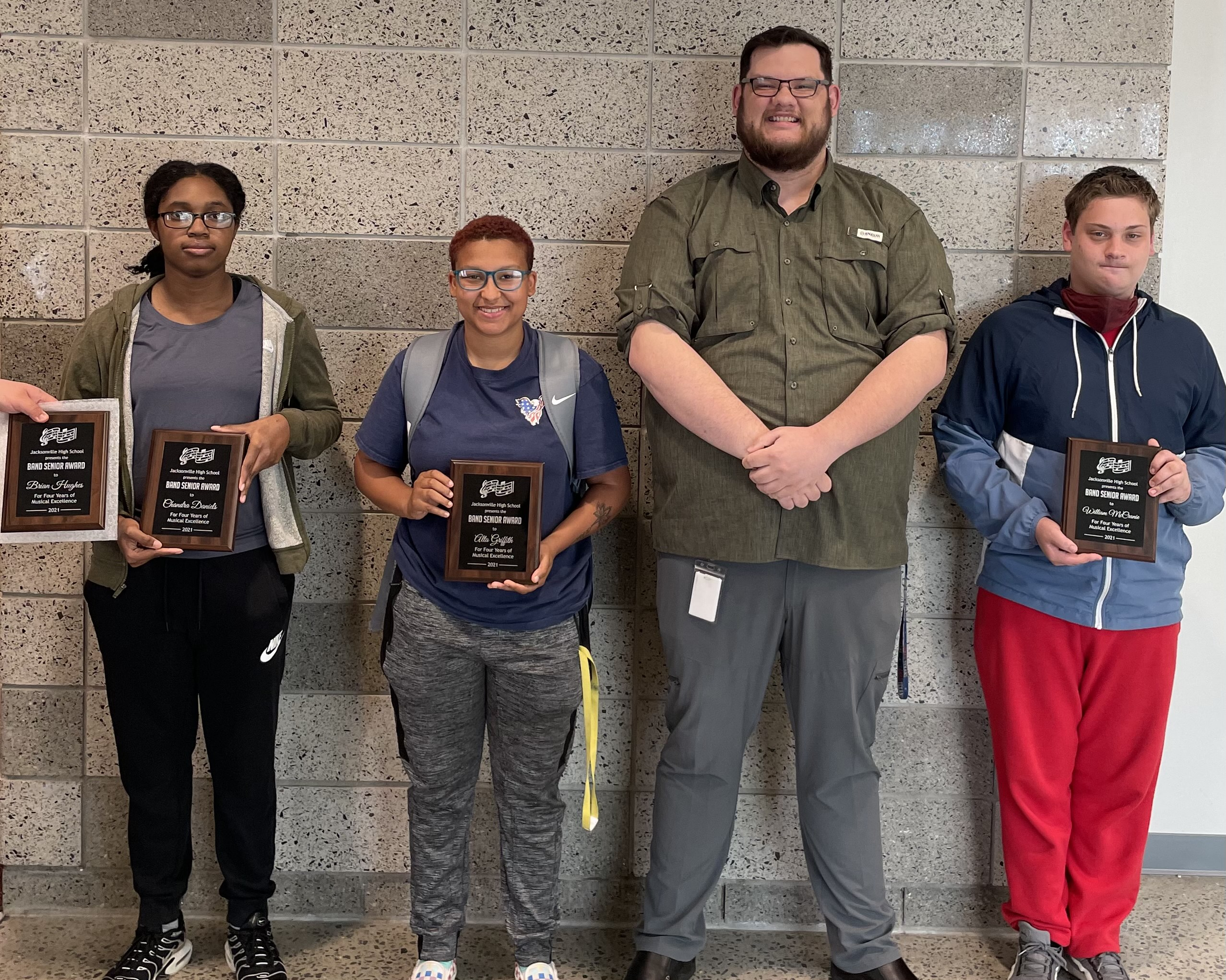 Band Senior Students being awarded a Senior Plaque 2020-2021 School Year